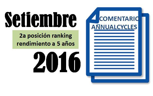 Setiembre 2016 – 2a posición en el ranking a 5 años